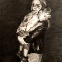 Mother & Son Charcoal Drawing