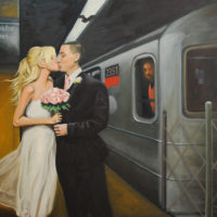 NYC Subway Wedding Oil Painting